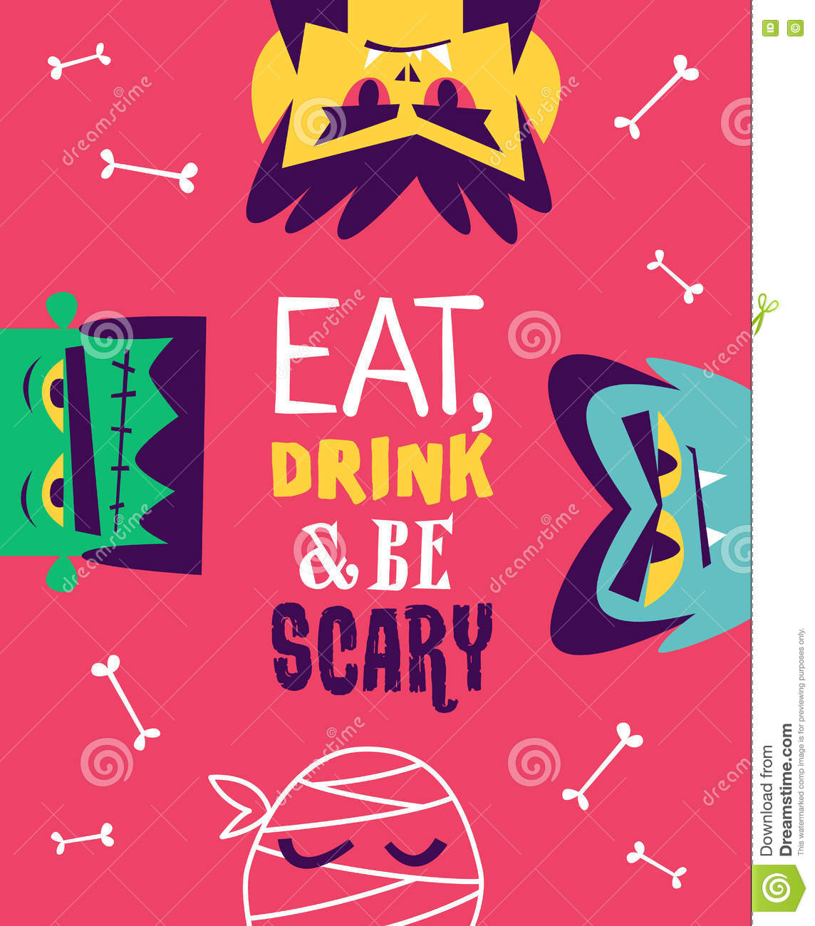 Funny Invitation Flyer For Halloween Party. Vector Stock Vector ...