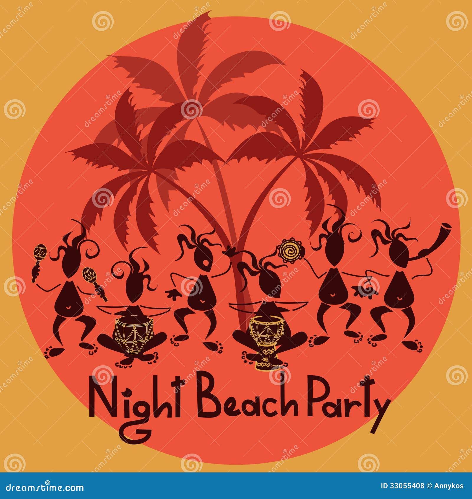 funny invitation to night beach party stock vector
