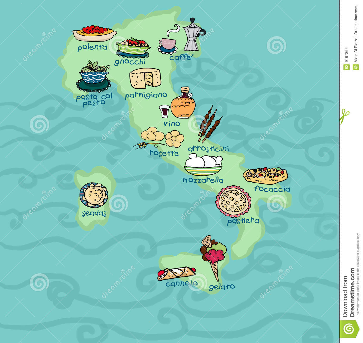 Funny Italy Food Map Stock Photography Image 9167862
