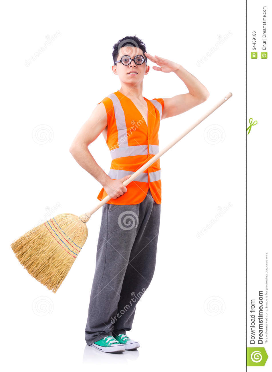 Funny Janitor Stock Image Dust Occupation