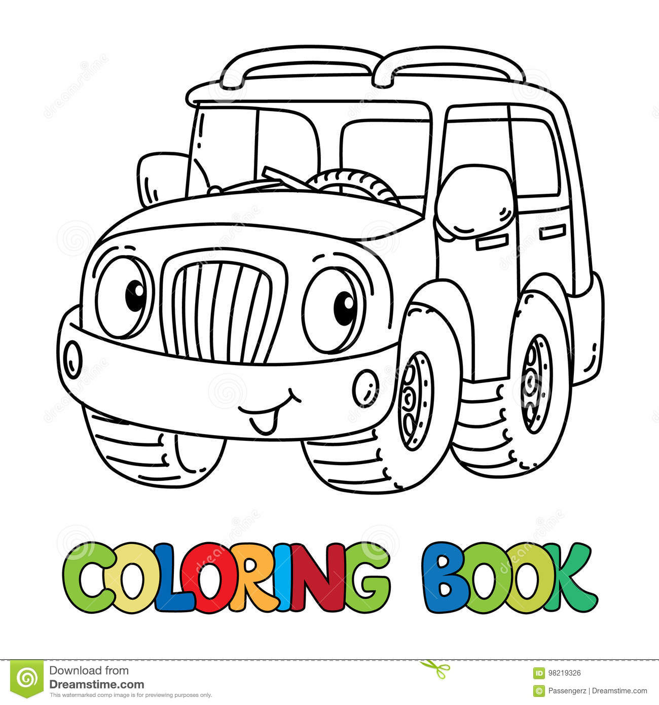 Funny Jeep Or Outroader With Eyes Coloring Book Stock Vector