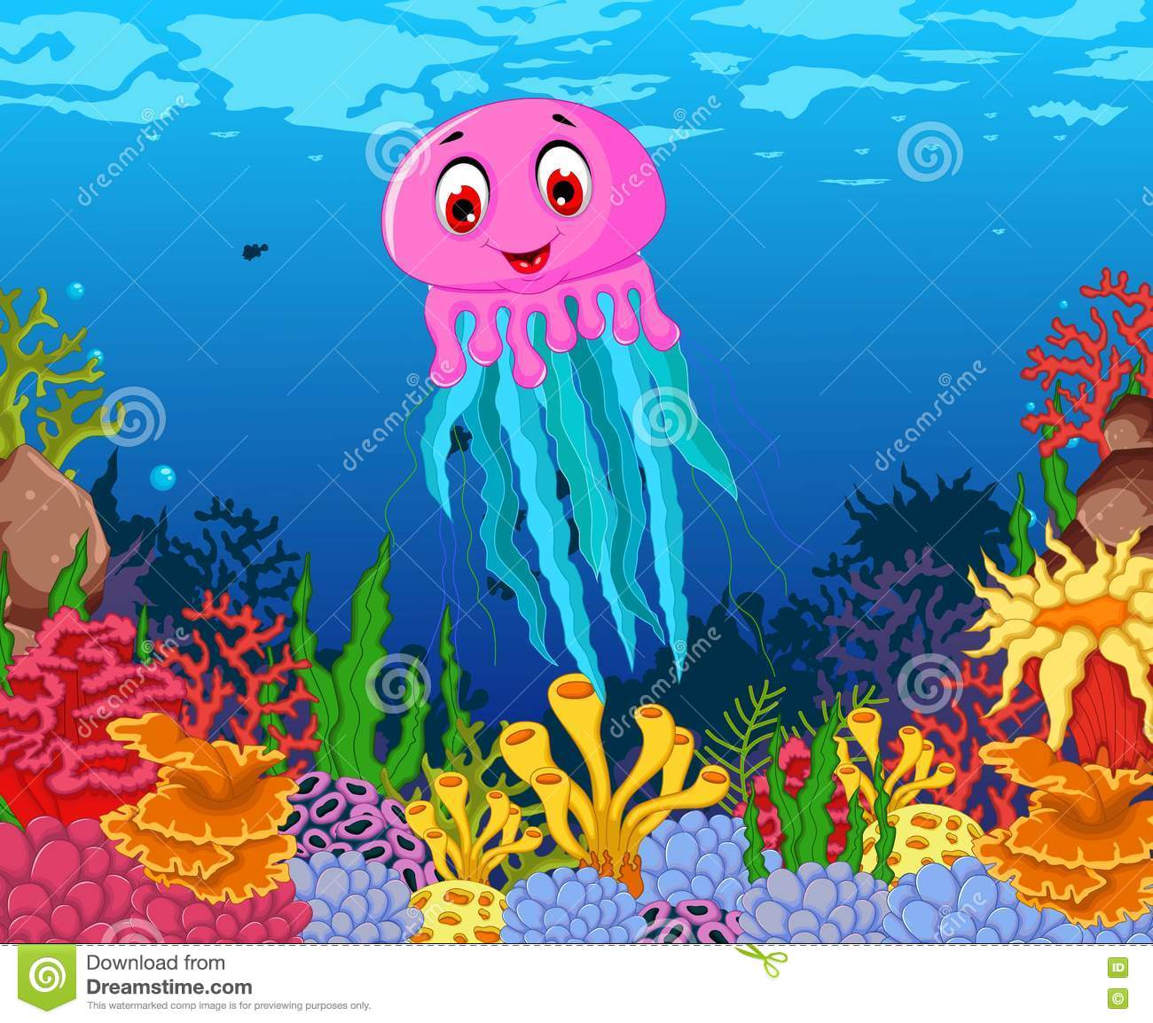 Funny Jellyfish Cartoon With Beauty Sea Life Background ...