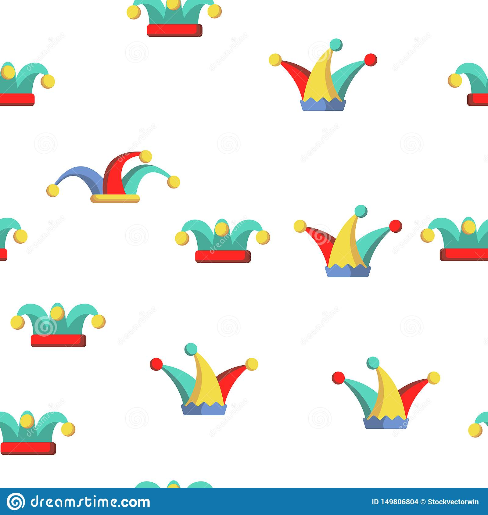 Funny Jester Hat Linear Vector Seamless Pattern