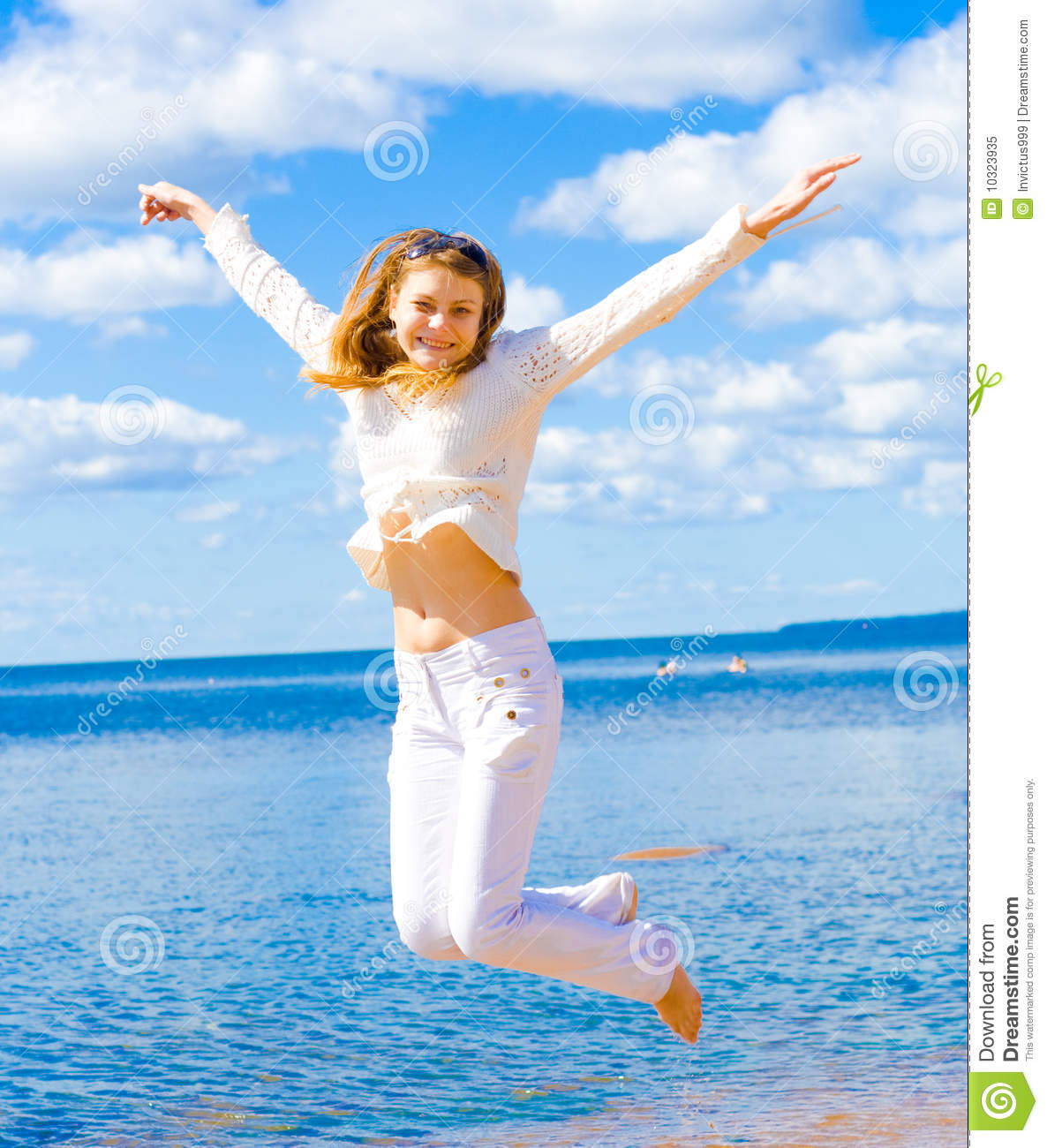 Active Girl Jumping Very Funny Beach