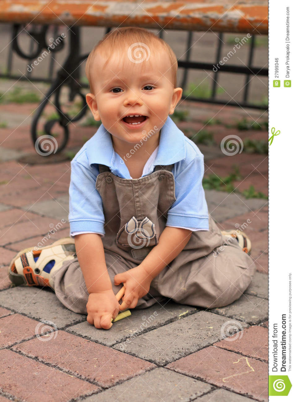 Funny Laughing Little Boy Playing Outdoors Darya Prokapalo