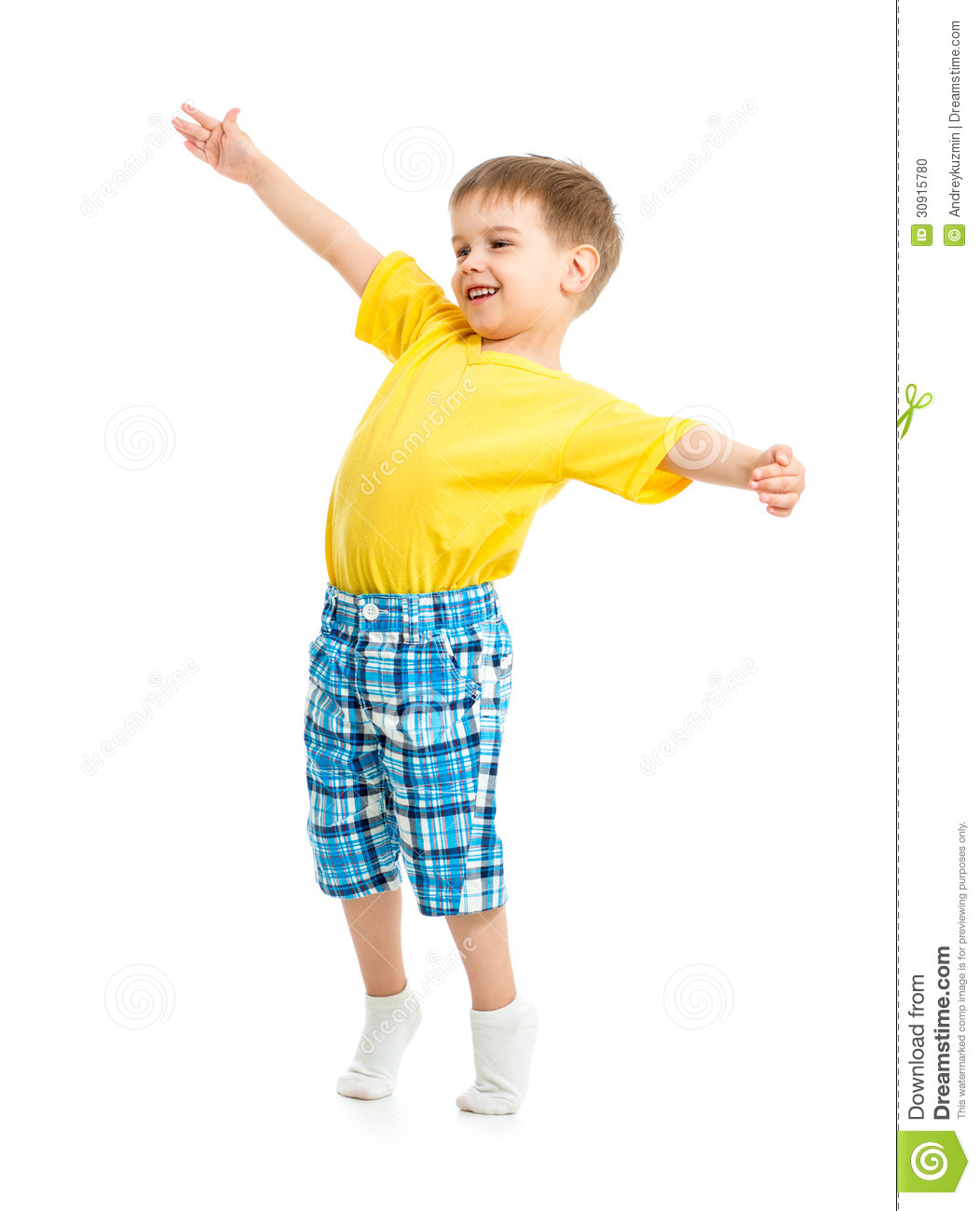 Kids Stock A Wide Selection Of Luxury Premium Cotton: Funny Kid Boy With Open Arms Isolated Stock Photo