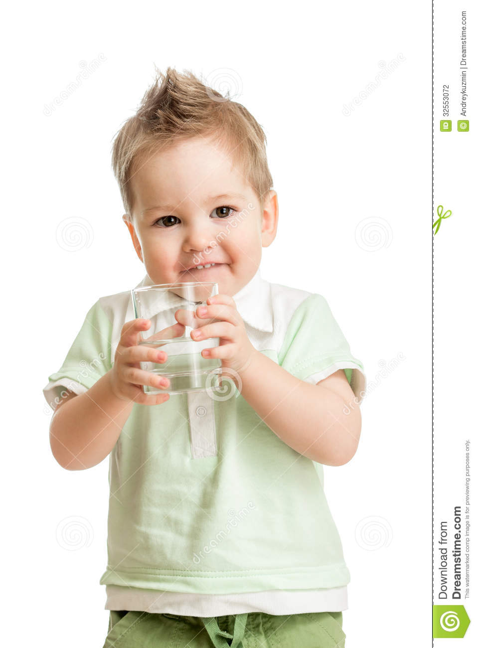 Funny Kid Drinking Water From Glass Stock Photography - Image ...