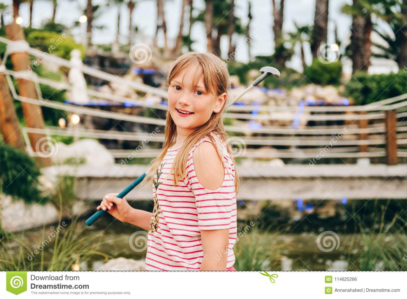 163fa9f75 Outdoor Portrait Of Pretty Kid Girl Stock Photo - Image of activity ...