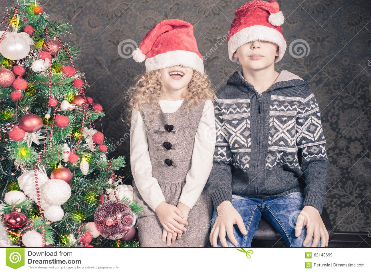 Download Funny Kids At Christmas Holiday Near Decorated Tree Stock Image