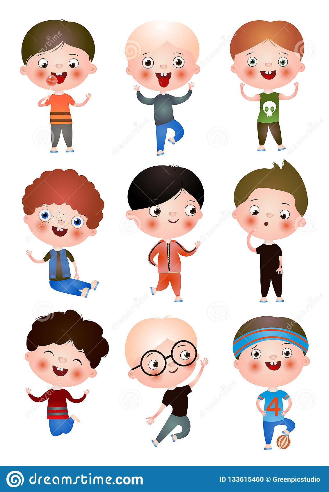 Funny Funny Kids With Different Hairstyles And Hair Color Children Spend Their Free Time Having Fun And Playing Stock Illustration Illustration Of Group Funny 133615460