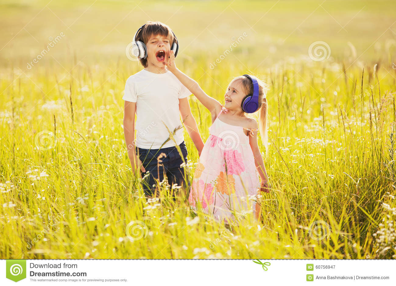 Funny Kids Listen Music On Headphones Stock Image - Image of