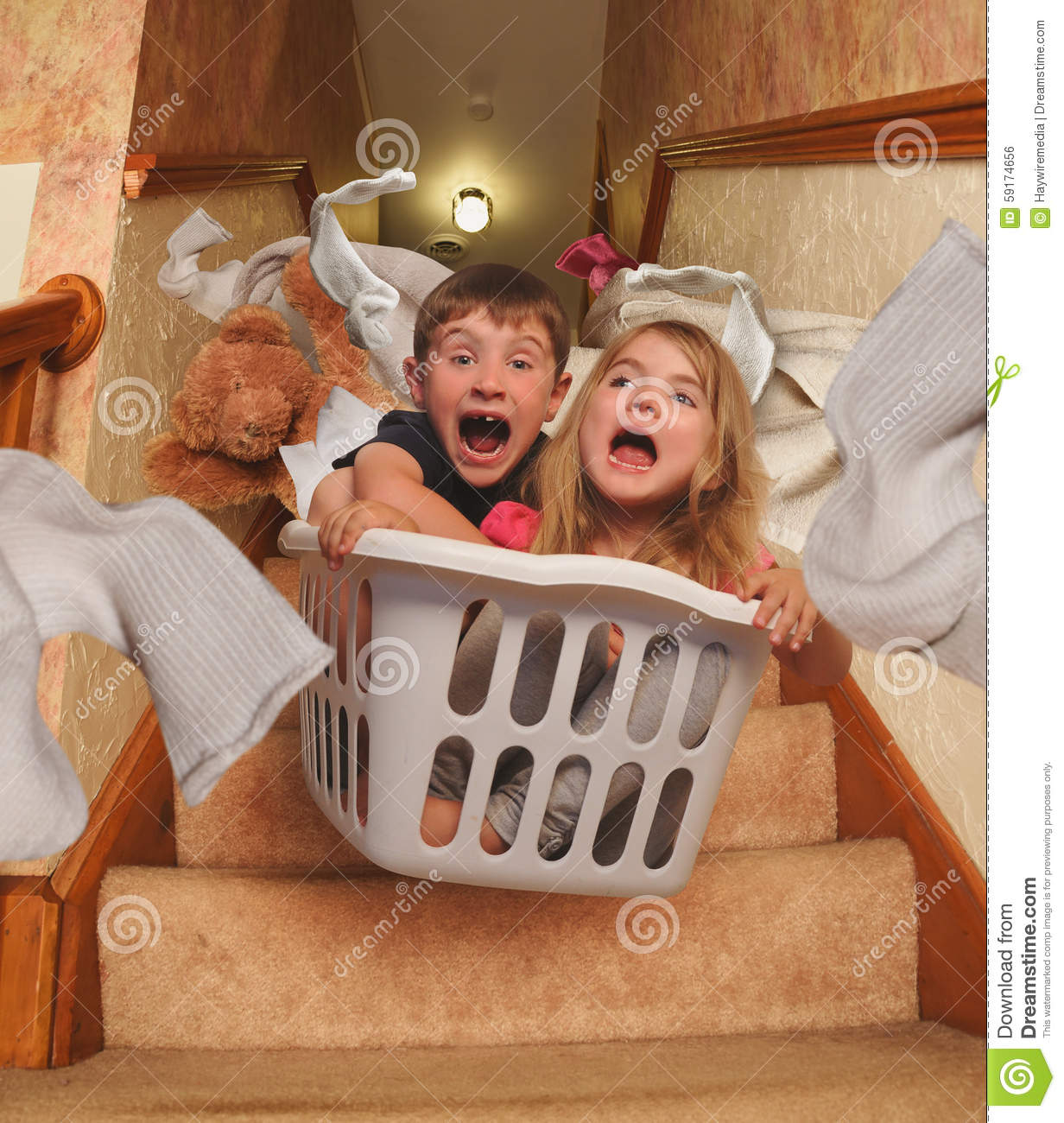 How To Read A House Plan Funny Kids Riding In Laundry Basket Downstairs Stock Photo