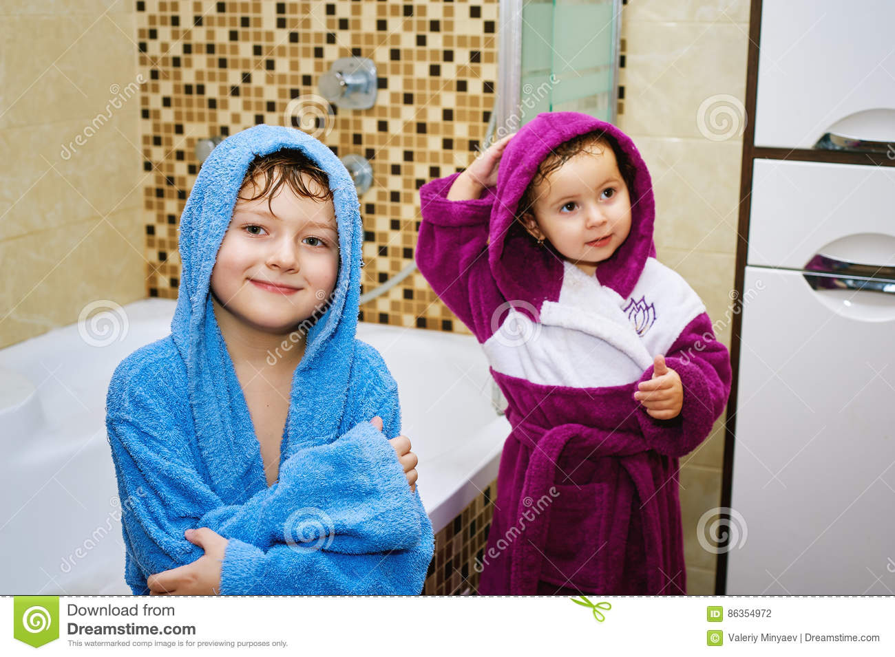 Funny Kids After Soul In The Bright Robes Stock Photo Image Of