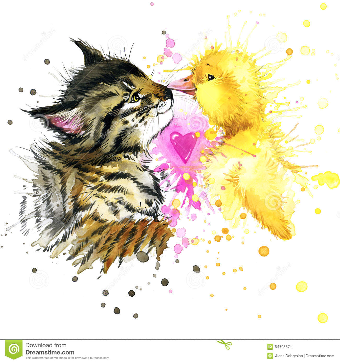 Funny kitten and duck watercolor illustration