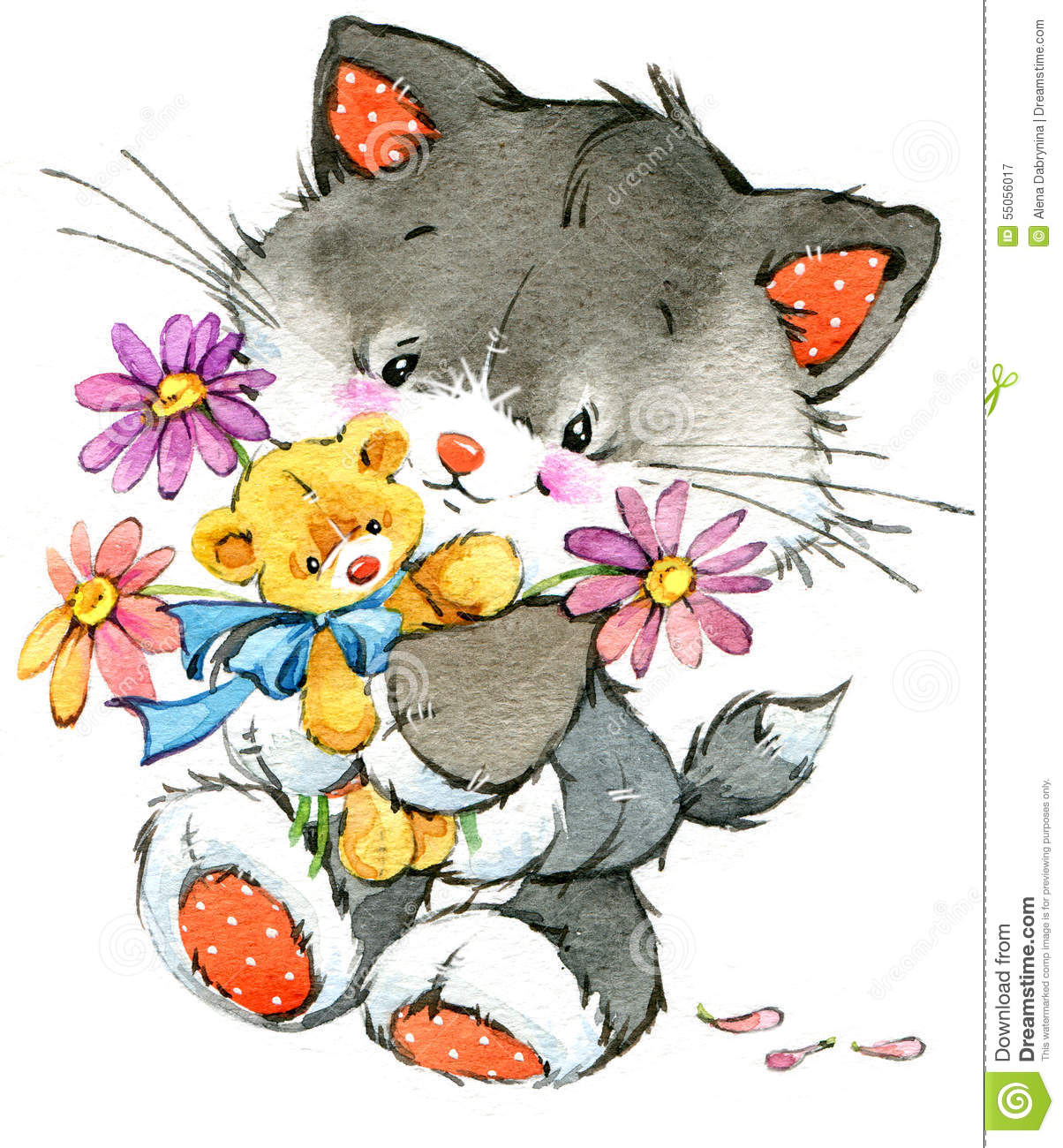 Funny Kitten. Element For Holiday Greetings Card And Kids Background ...