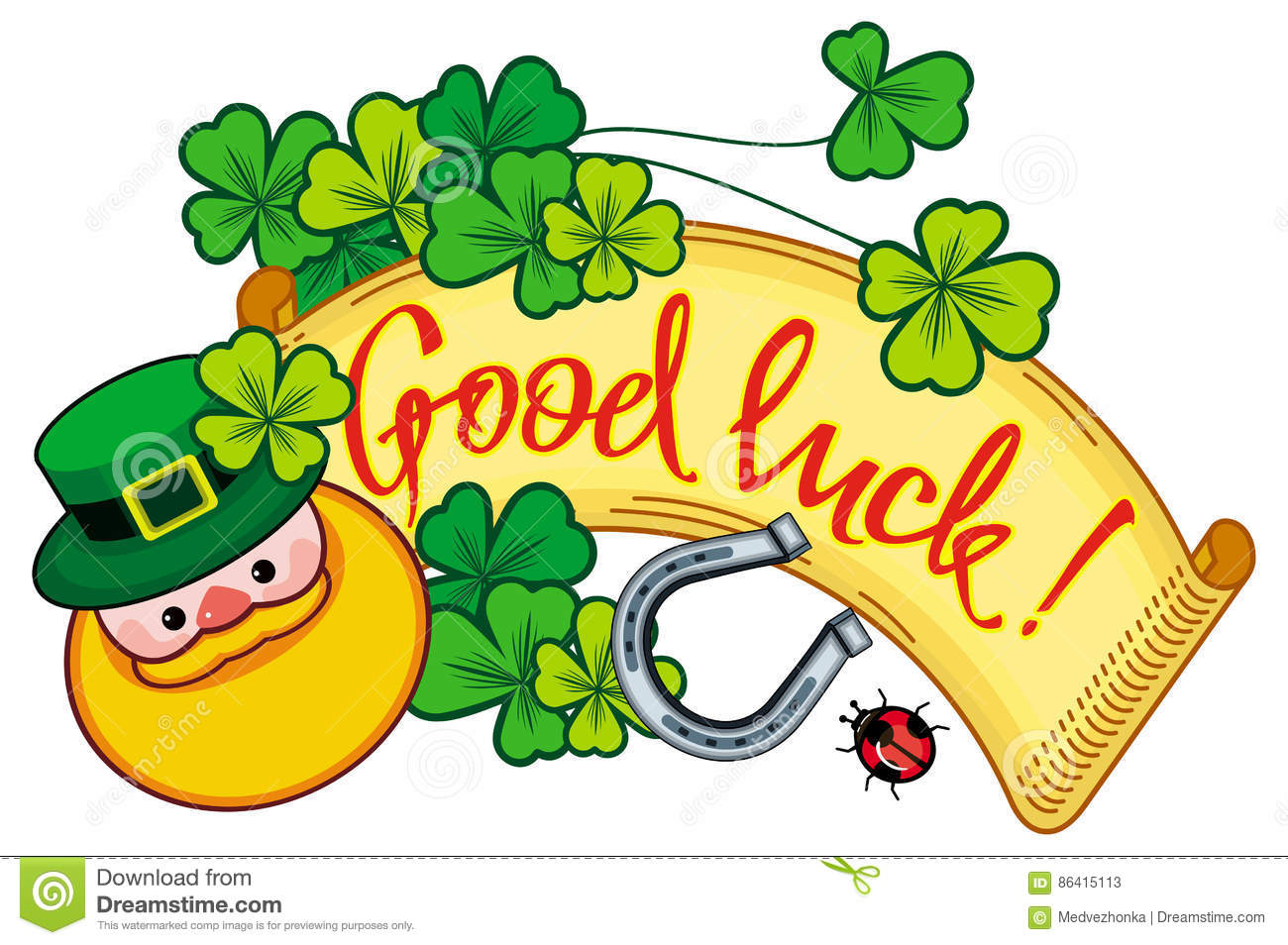 Funny Label With Shamrock, Leprechaun And Text `Good Luck ...
