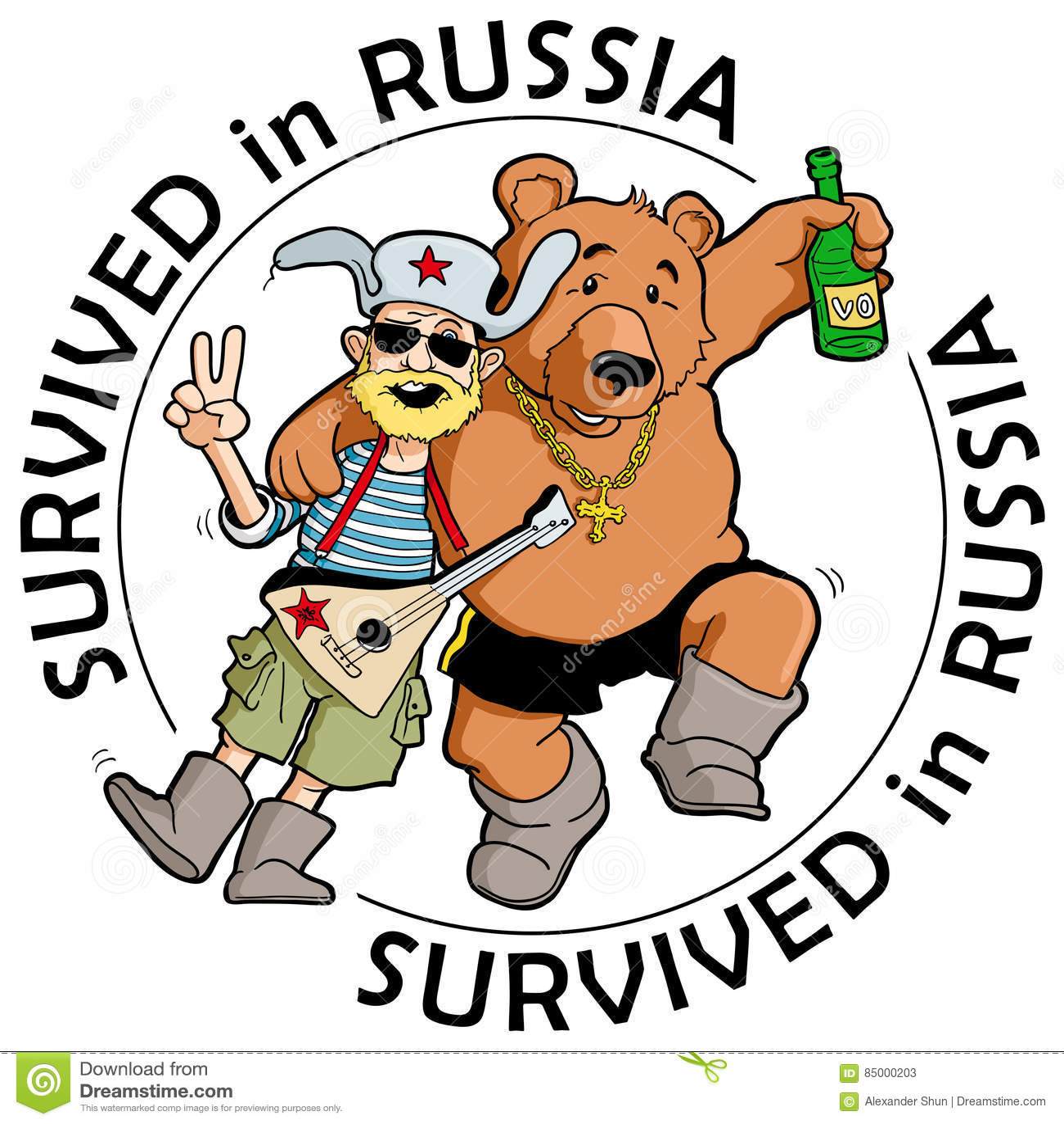 cartoon Drunk bear
