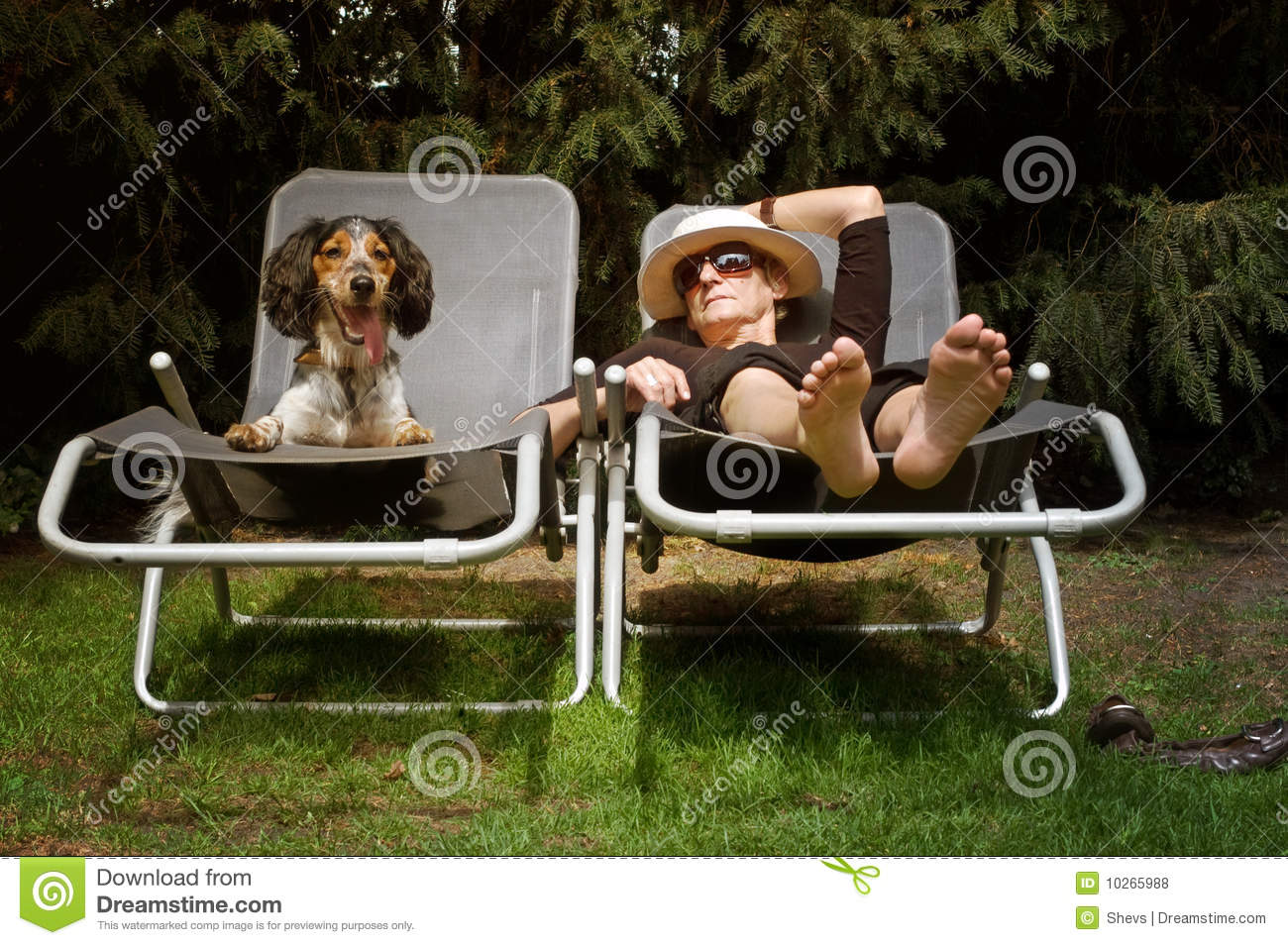 Funny Lady Sunbathing With Her Dog Royalty Free Stock