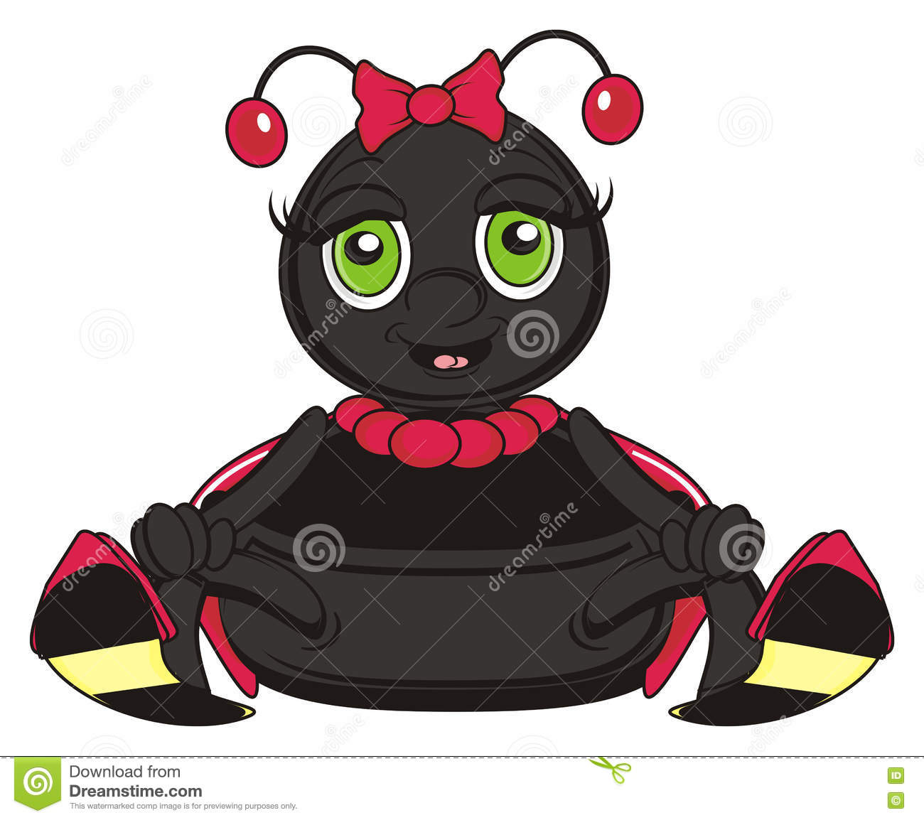 Funny ladybug with red bow on the head