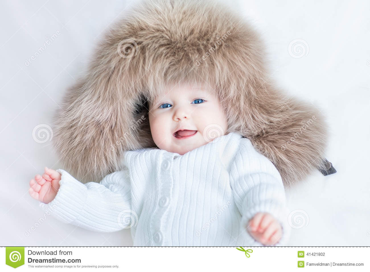 6412840cf Funny Laughing Baby Girl Wearing Huge Winter Hat Stock Photo - Image ...