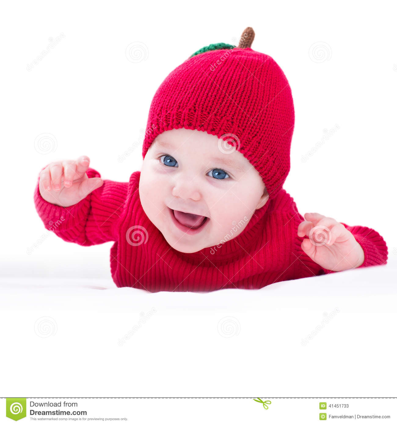 d94d85129 Funny Laughing Baby Wearing Knitted Red Apple Hat Stock Image ...
