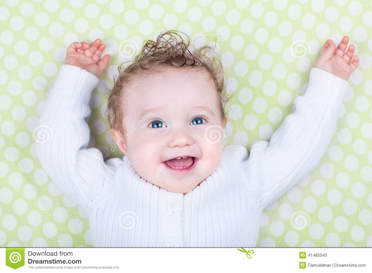 b1d522007 Funny Laughing Happy Baby In Green Blanket Stock Photo - Image of ...