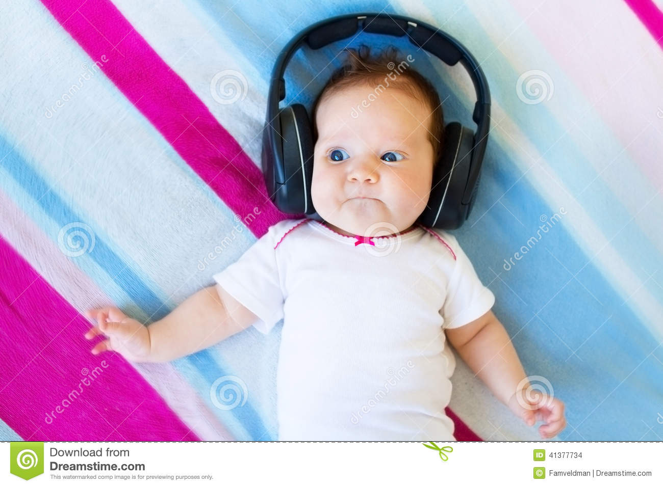 Funny Laughing Newborn Baby Listening Ear Phones Stock Photo - Image