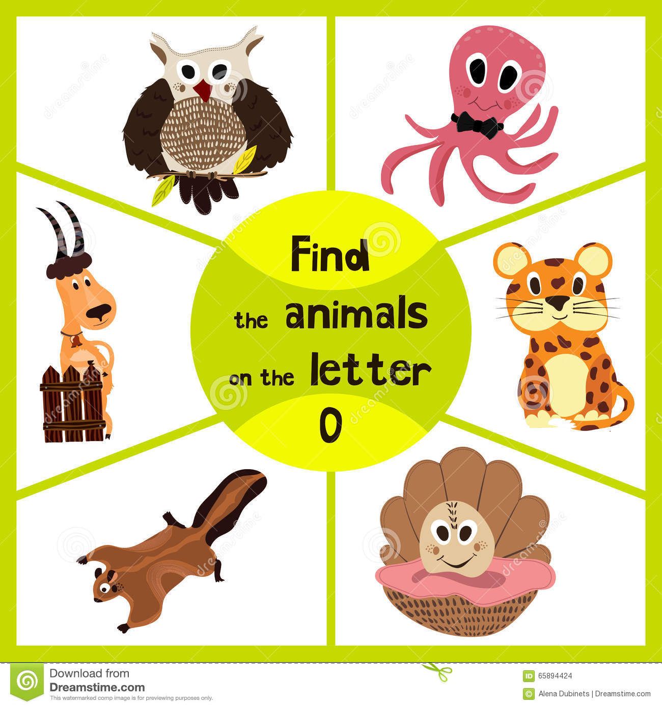 Cute letter page stock image cartoondealercom 5422555 for Animals with the letter o in their name