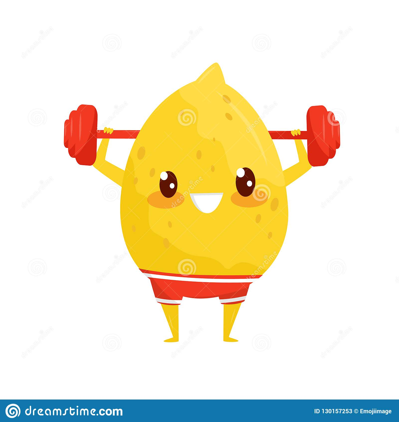 Funny Lemon Exercising With Barbell Sportive Fruit Cartoon Character Doing Fitness Exercise Vector Illustration On A Stock Vector Illustration Of Cartoon Exercise 130157253