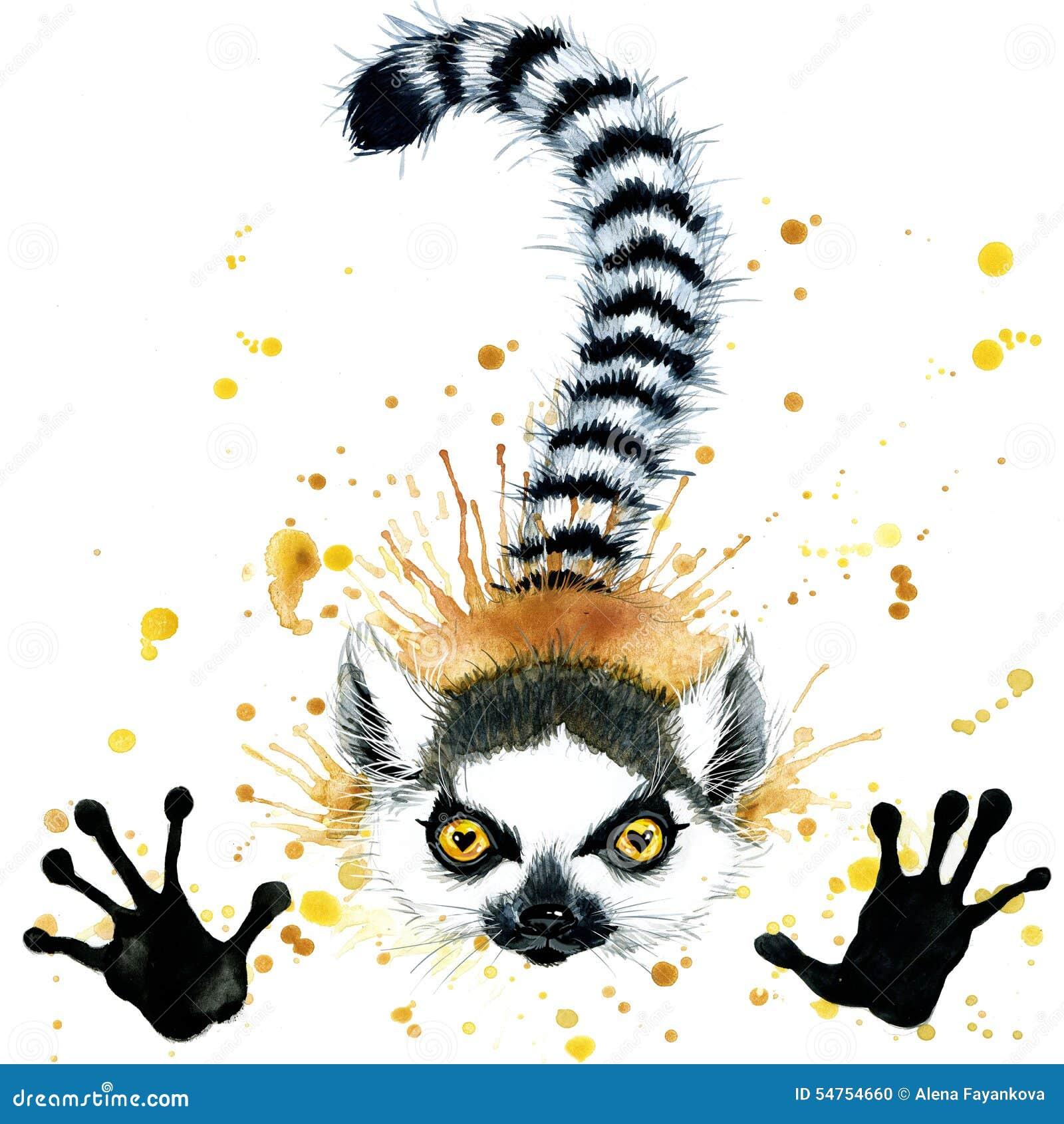 Funny lemur watercolor