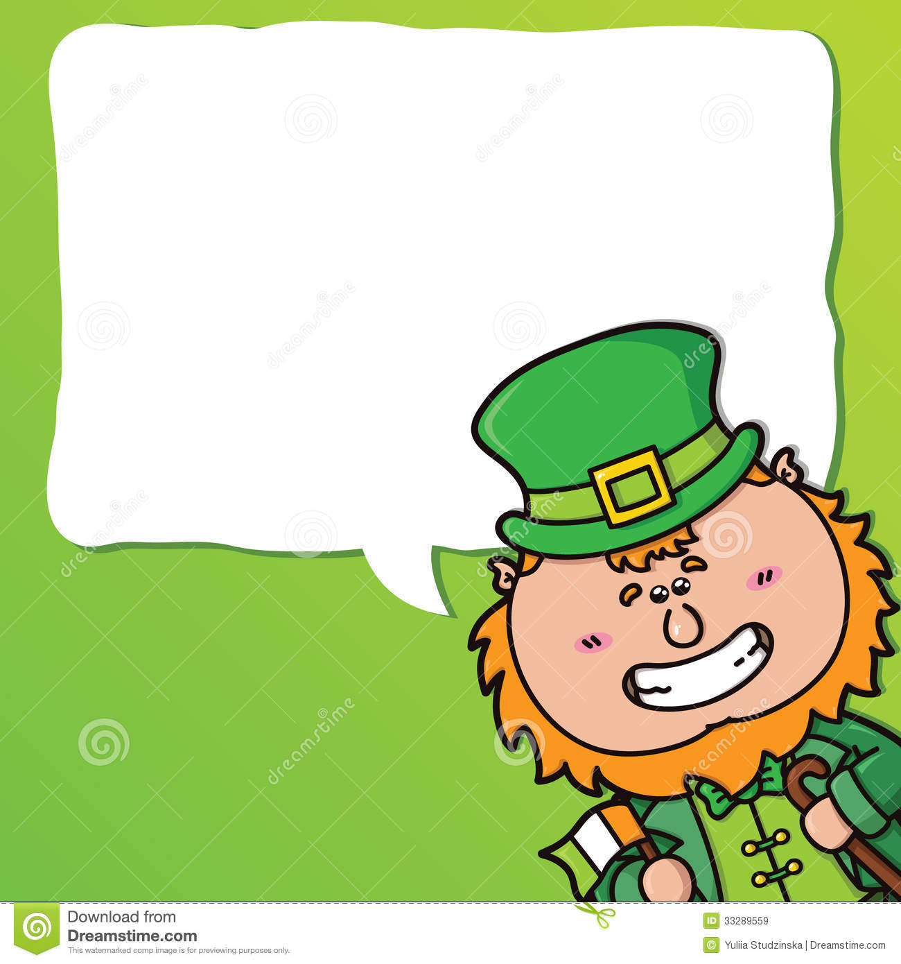 ... festive card with kawaii Leprechaun which is holding irish flag