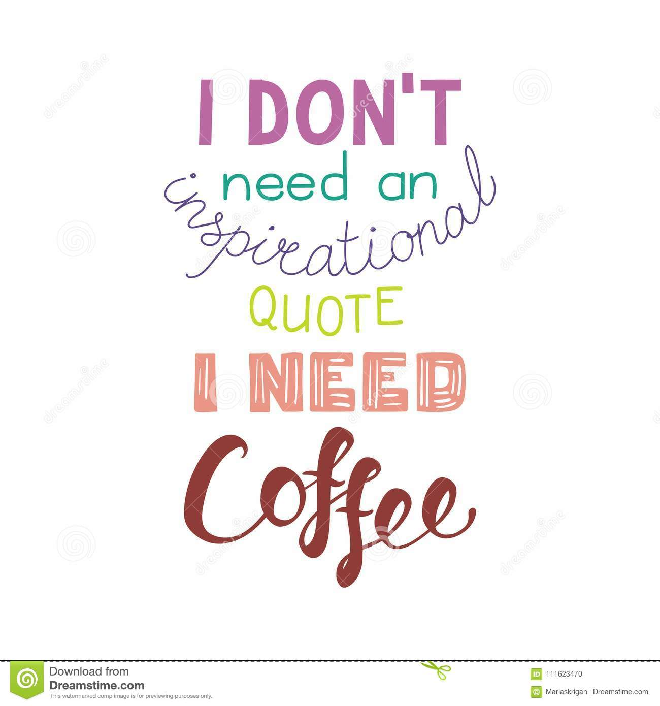 Funny Lettering Quote About Coffee Stock Vector ...