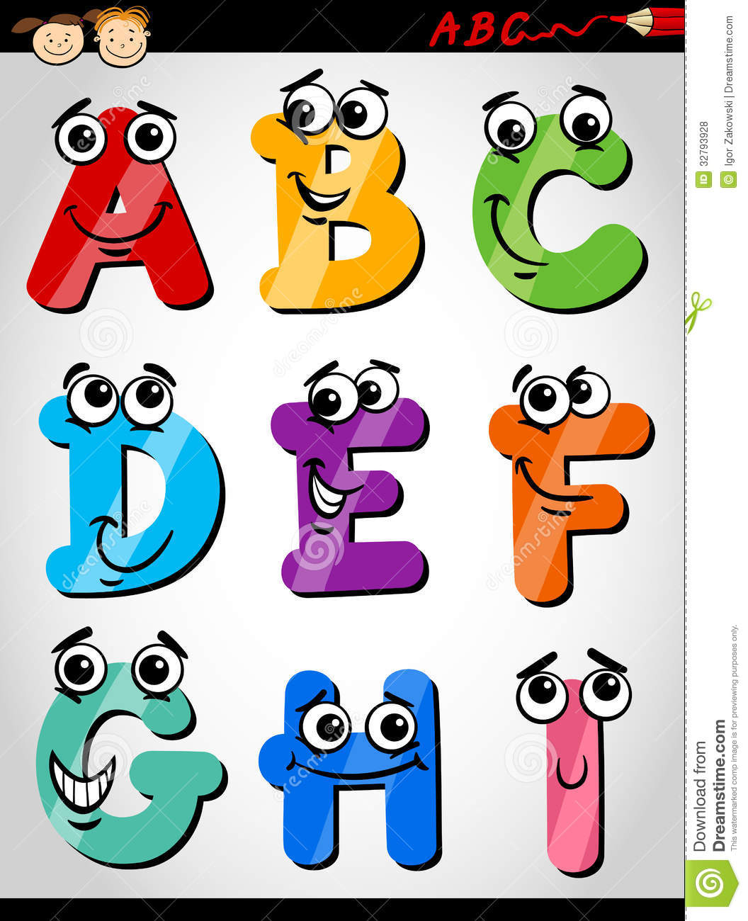 Cartoon Characters 9 Letters : Funny letters alphabet cartoon illustration stock vector