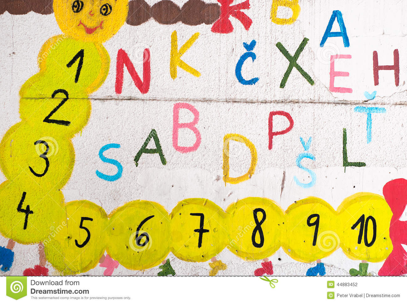 Funny Letters And Numbers On The Wall Stock Photo - Image of happy ...