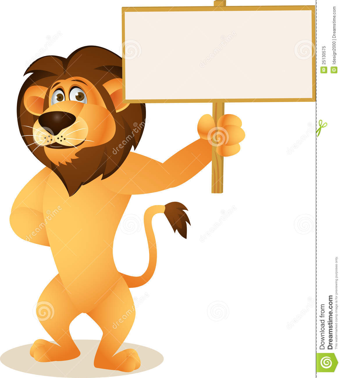 Royalty Free Stock Photo: Funny lion cartoon with blank ...