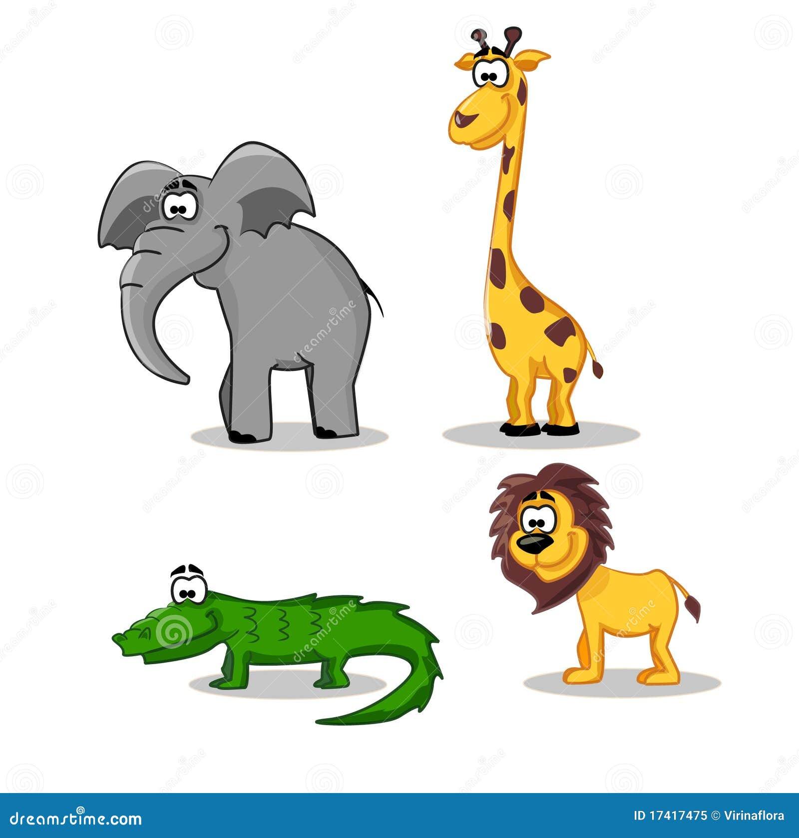 Funny Lion, Crocodile, Giraffe And Elephant Royalty Free ...