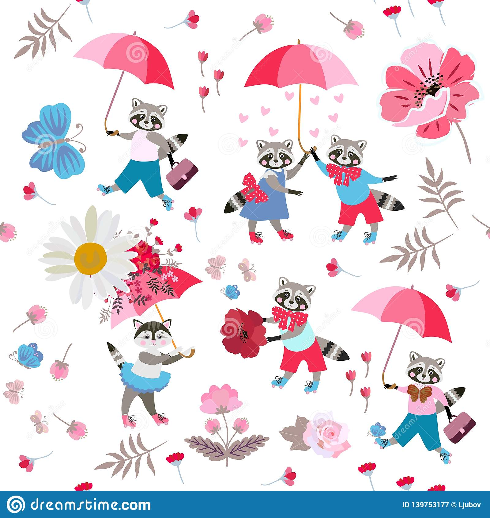 Funny little animals with umbrellas, butterflies, hearts, leaves and flowers on white background. Seamless pattern for baby