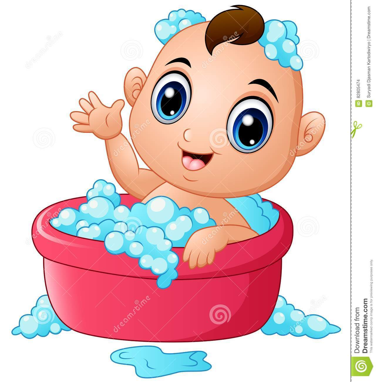 funny little baby having bath with soap foam in a bathtub stock vector image 82805474. Black Bedroom Furniture Sets. Home Design Ideas