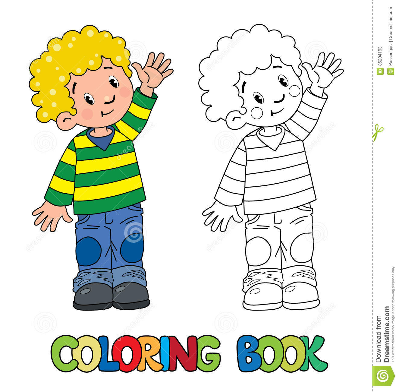 Funny Little Boy Coloring Book Stock Vector - Illustration of ...