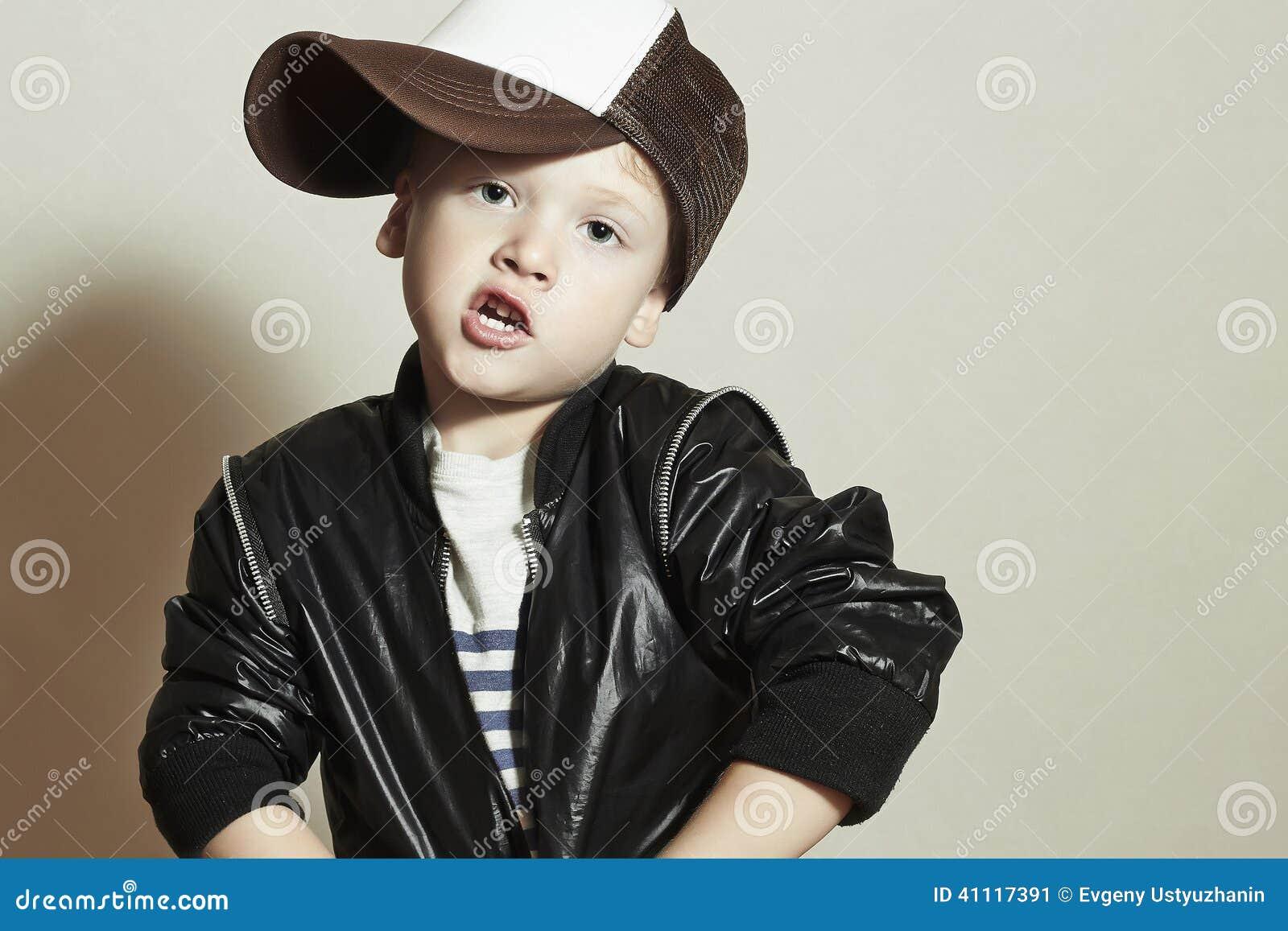Funny little boy.Hip-Hop Style. fashion children.Young Rapper