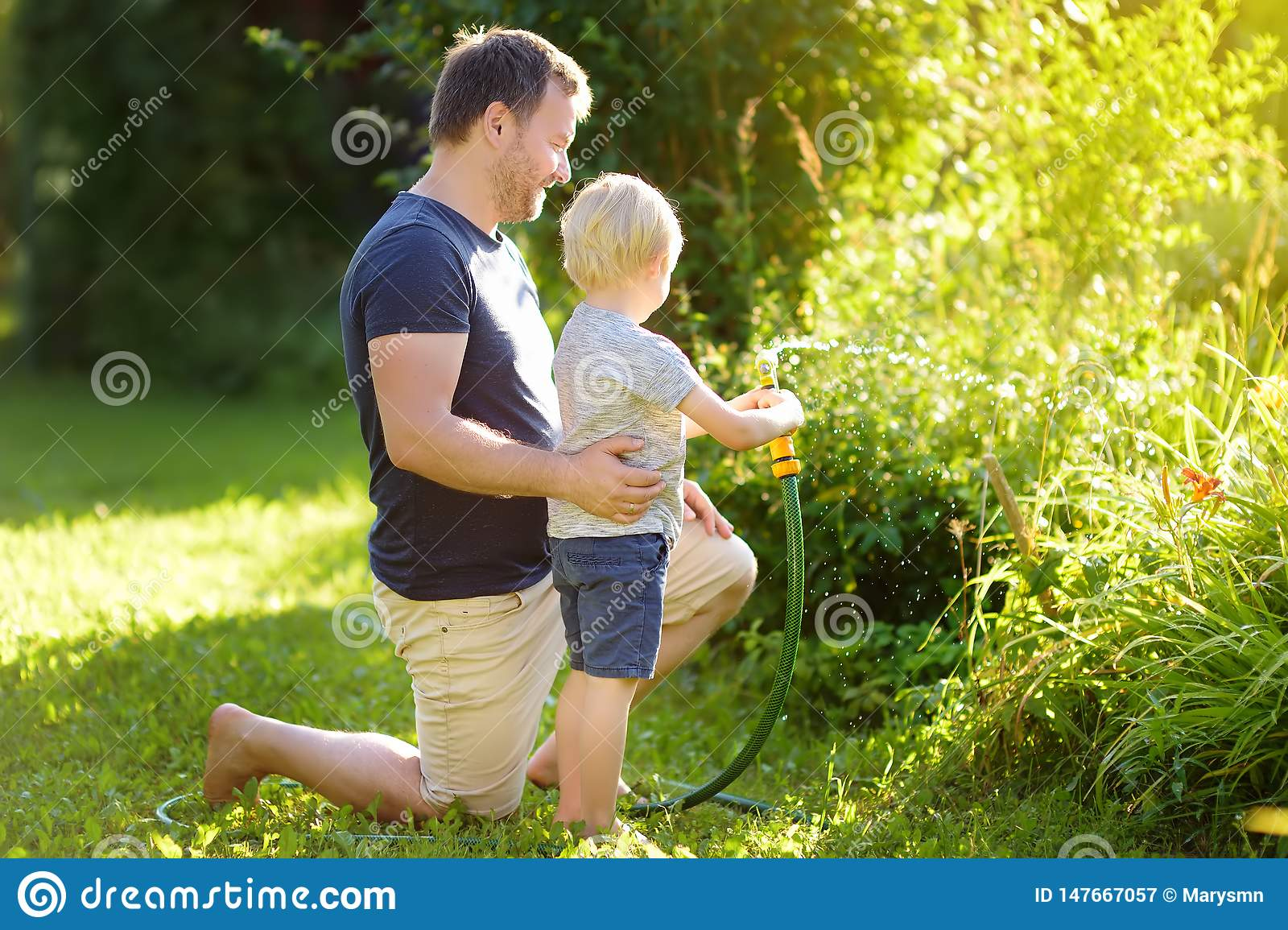Funny little boy with his father playing with garden hose in sunny backyard. Preschooler child having fun with spray of water