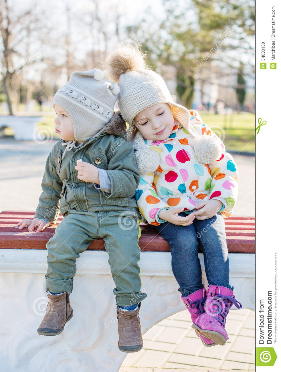 Funny Little Children Brother And Sister Stock Photo Image Of