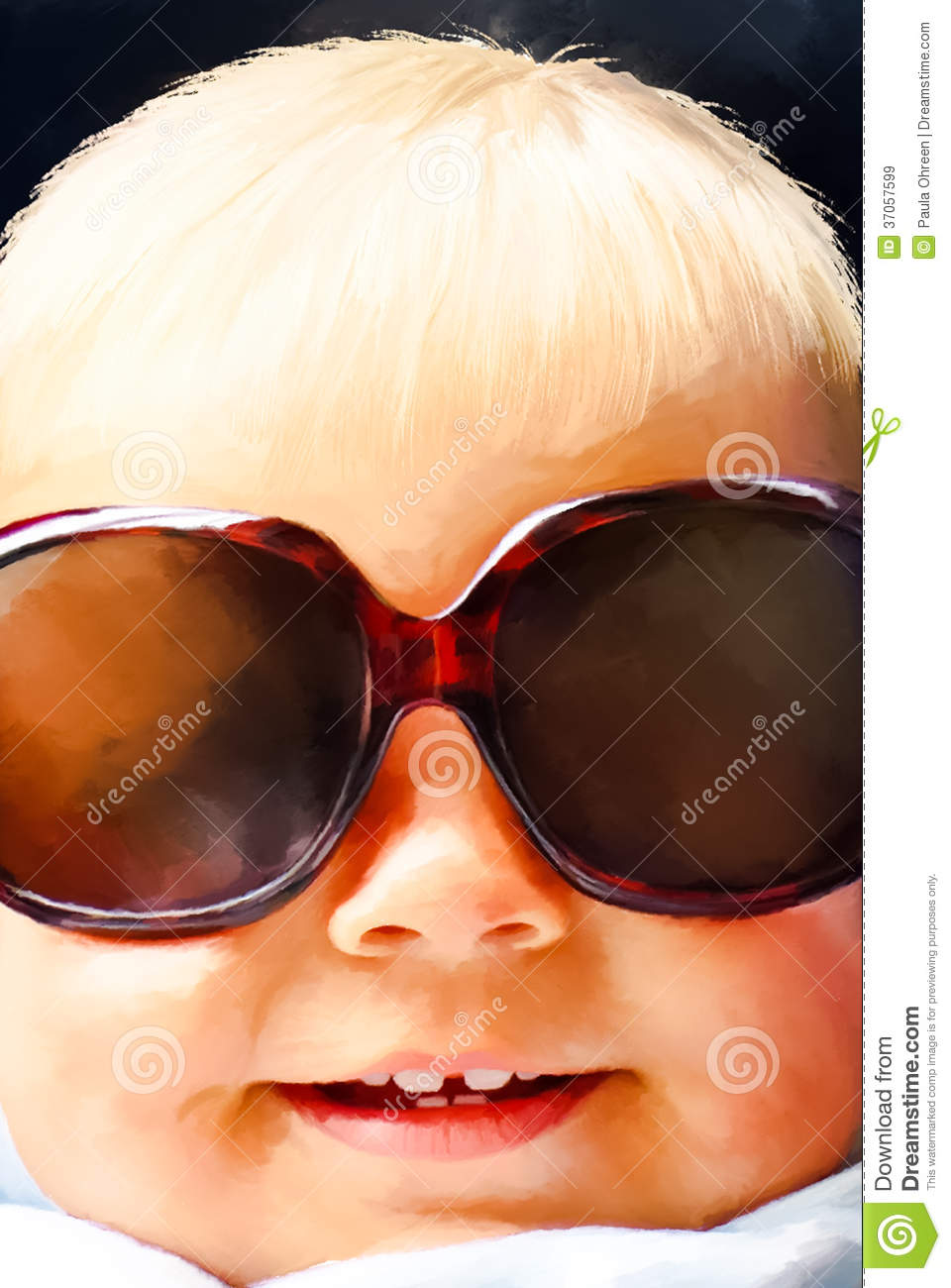 Funny little girl with big sunglasses