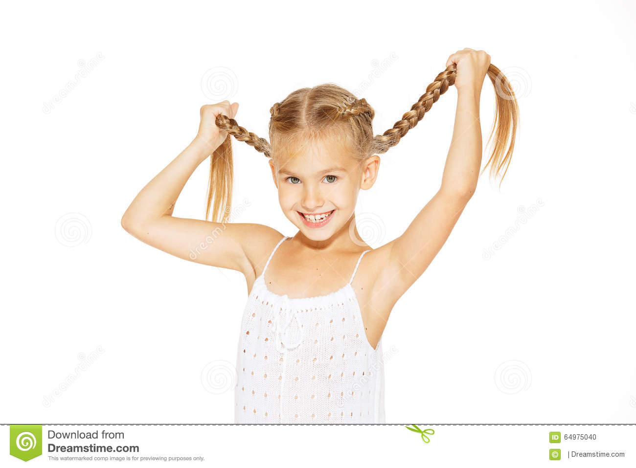 Little Girl Funny Smile Meme : Funny little girl with pigtails stock photo image