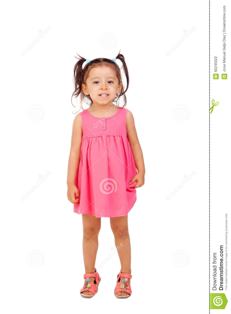 3f2273f6c604 Funny Little Girl With Pigtails And Pink Dress Stock Photo - Image ...