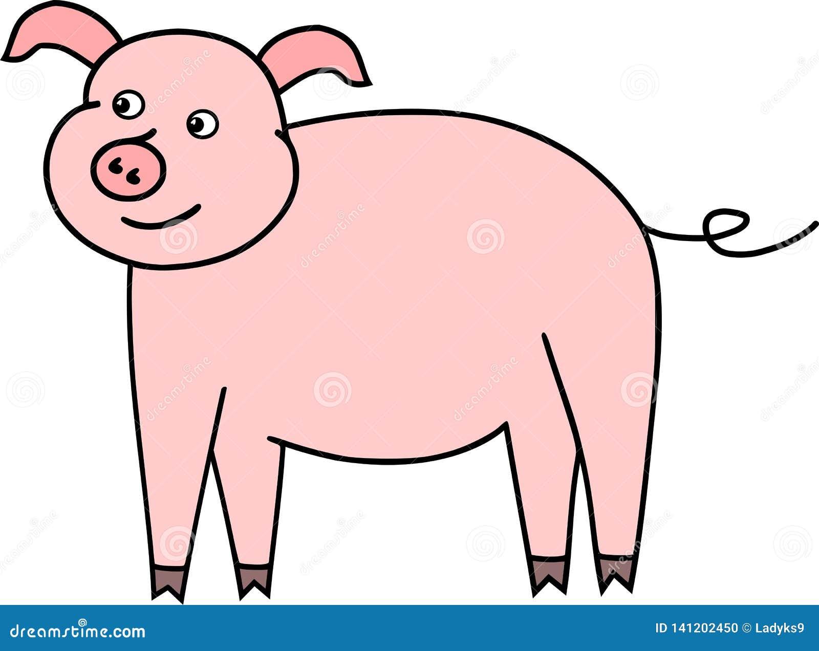 Funny little pig pink vektor piglet