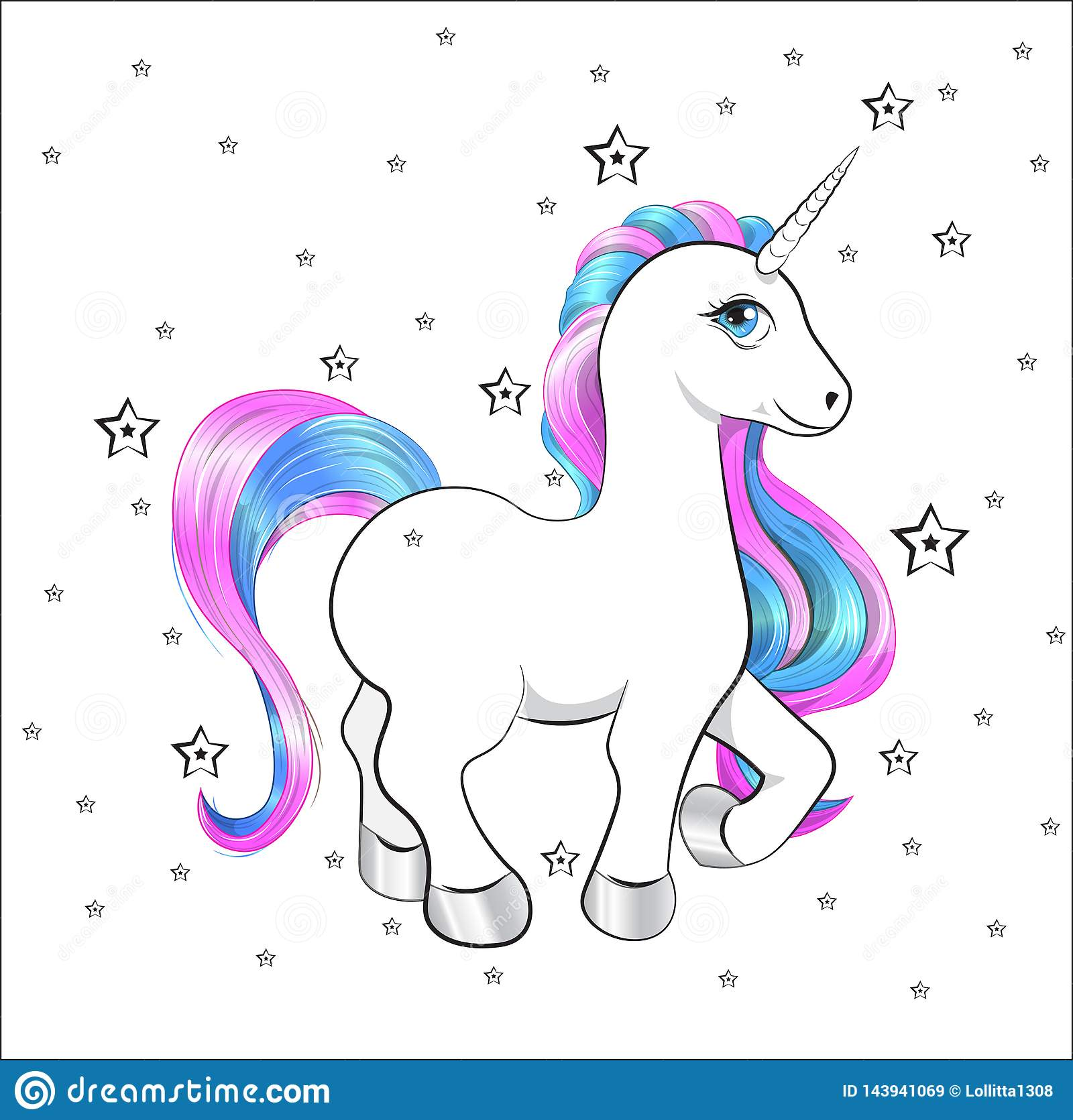 Unicorn Happy Birthday Card Stock Vector - Illustration of ...