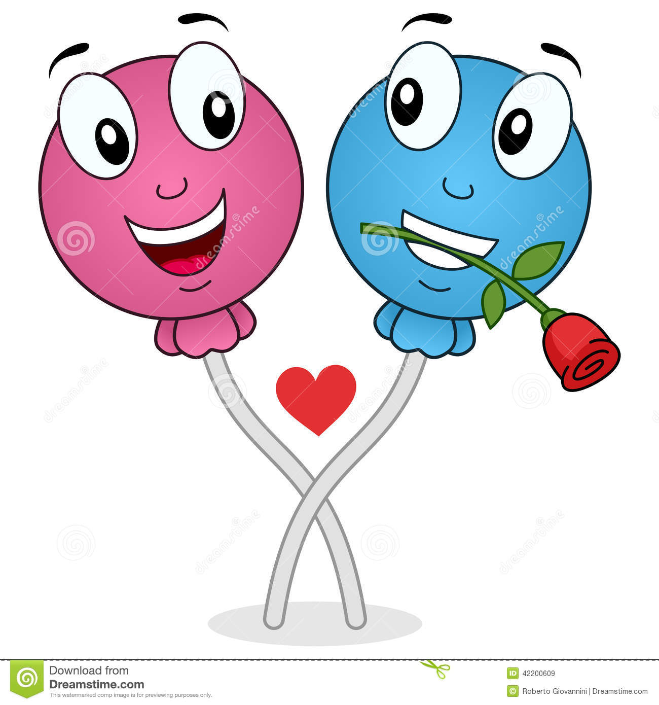 Two cute cartoon lollipop characters in love, isolated on white ...