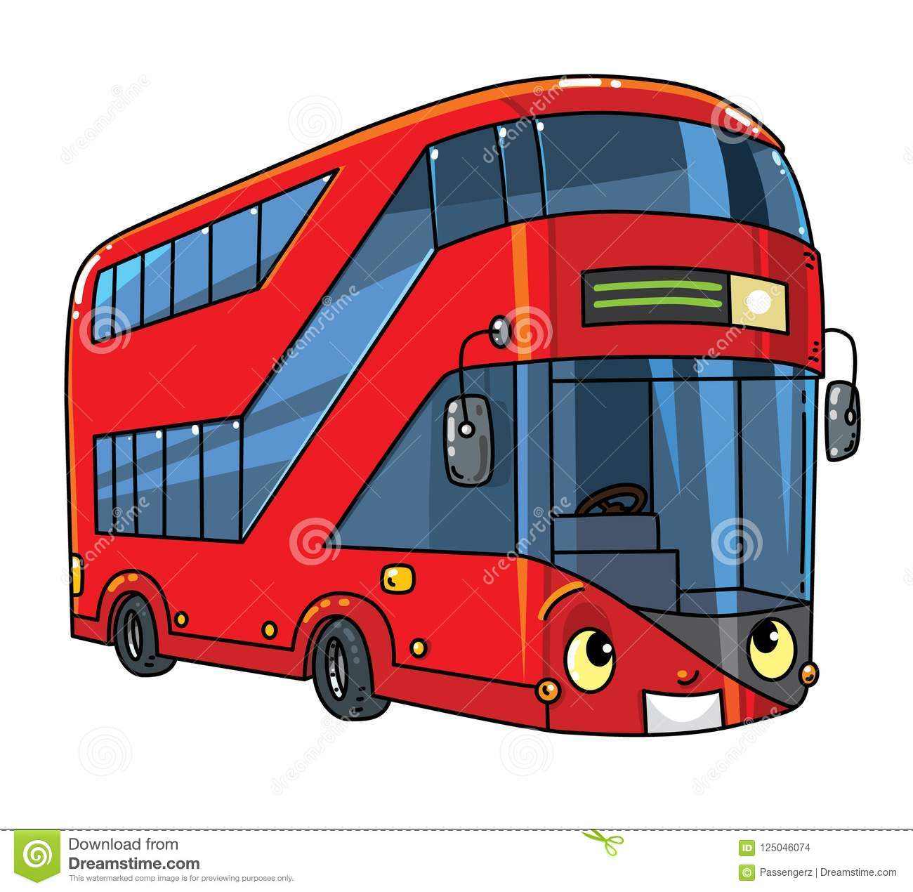 Funny London double-deck red bus with eyes