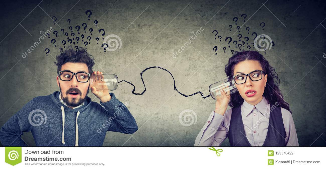 Man and woman having troubled communication